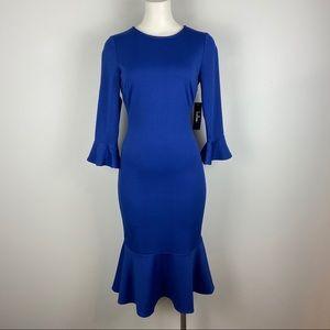 NWT LULU'S Blue Dress Bell Sleeve Ruffle Hem XS